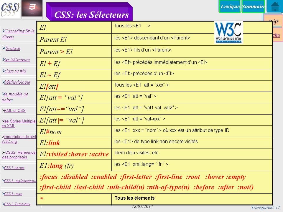 CSS: les Sélecteurs El Parent El Parent > El El + Ef El ~ Ef