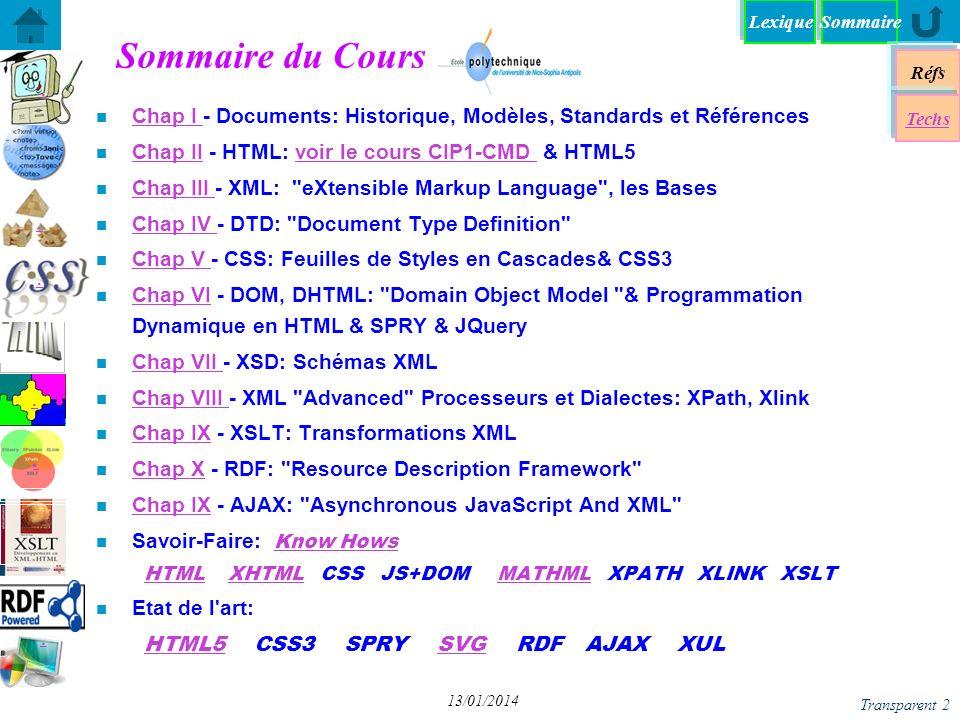 26/03/2017 Sommaire du Cours. Chap I - Documents: Historique, Modèles, Standards et Références. Chap II - HTML: voir le cours CIP1-CMD & HTML5.