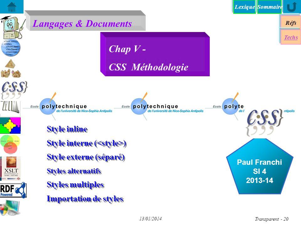 Chap V - CSS Méthodologie