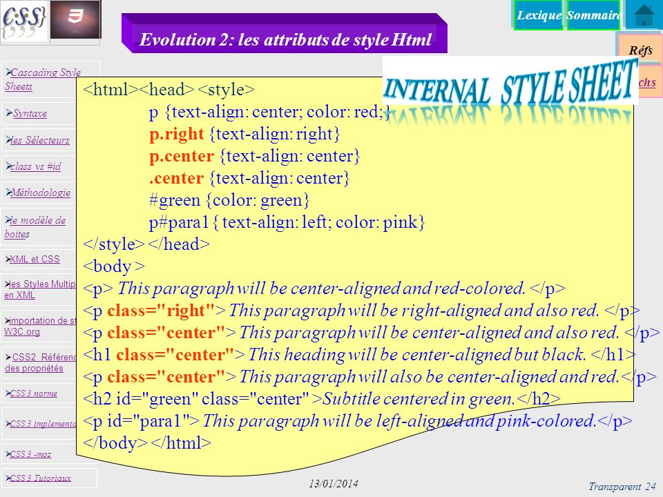 Evolution 2: les attributs de style Html