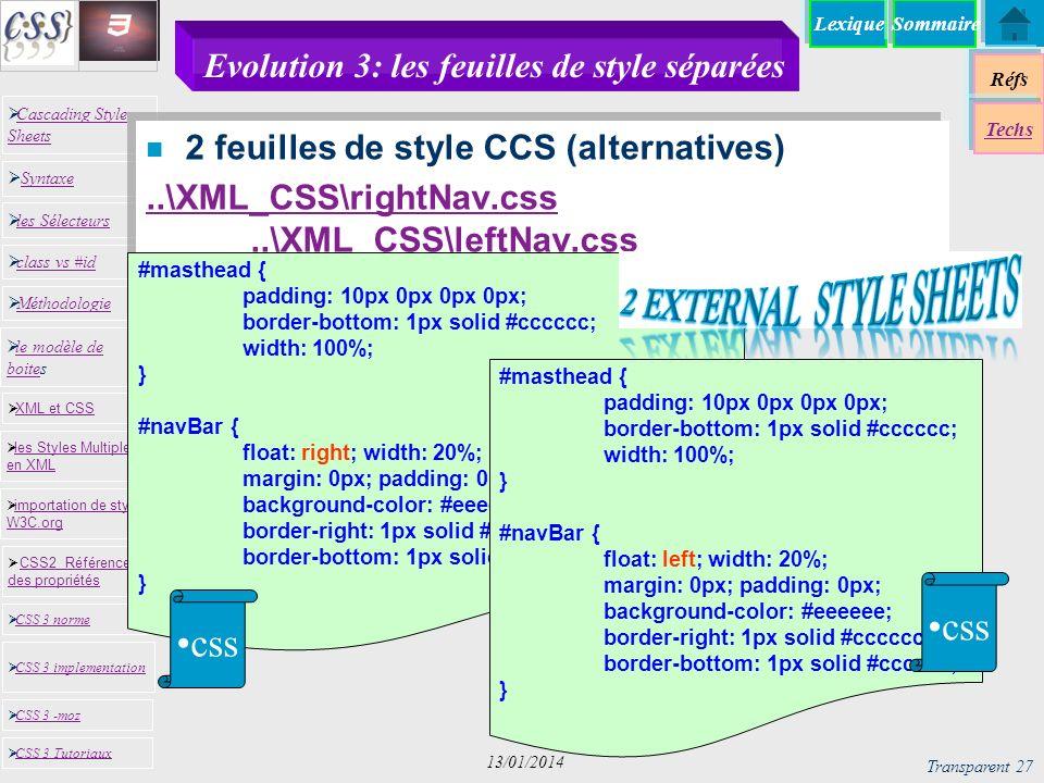 Evolution 3: les feuilles de style séparées