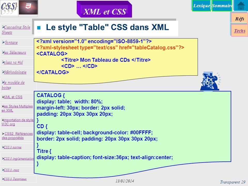 Le style Table CSS dans XML