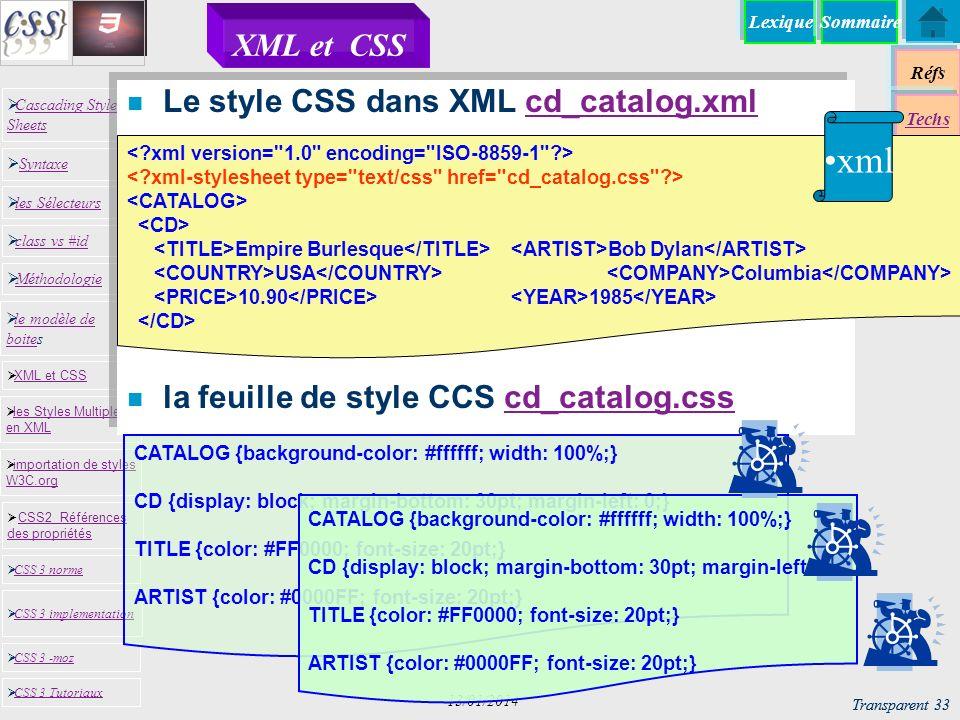xml XML et CSS Le style CSS dans XML cd_catalog.xml