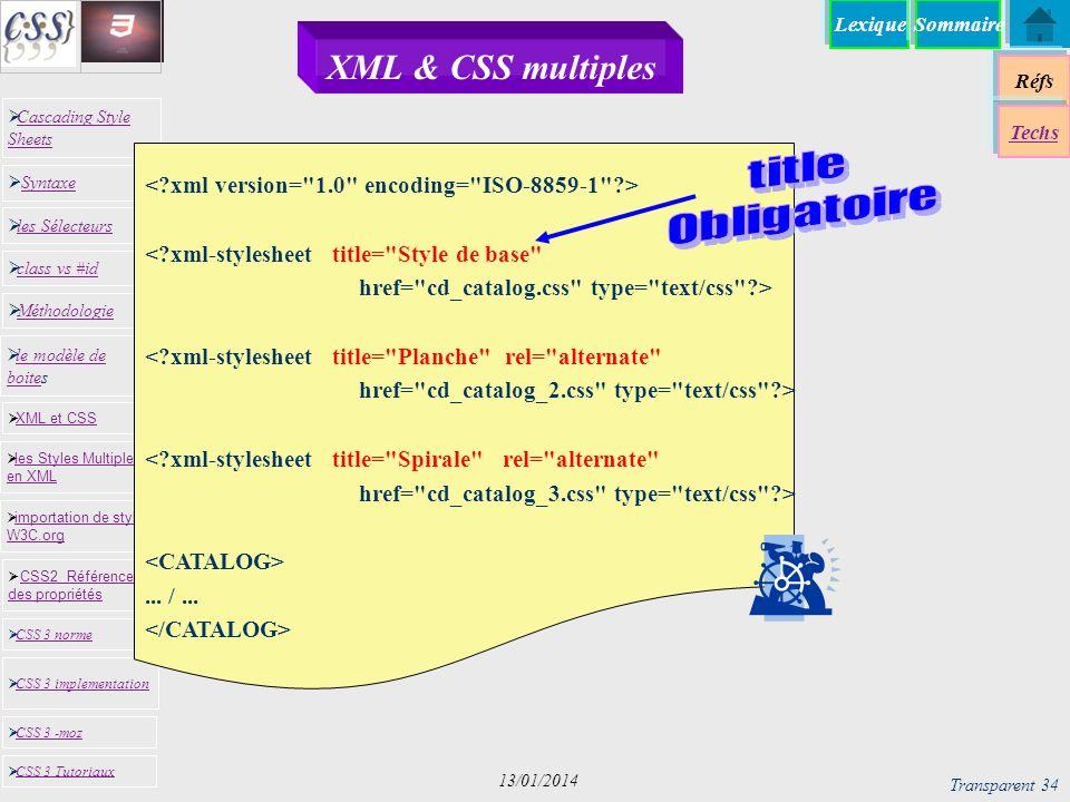 XML & CSS multiples title Obligatoire