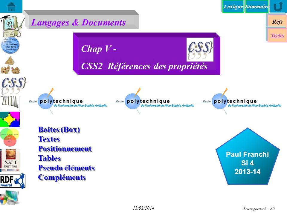 Chap V - CSS2 Références des propriétés