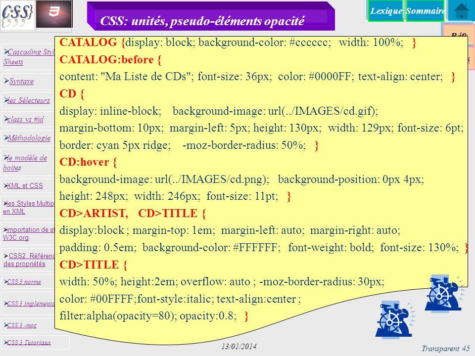 CSS: unités, pseudo-éléments opacité