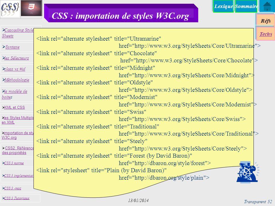 CSS : importation de styles W3C.org