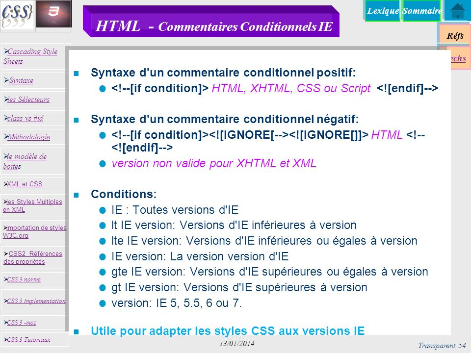 HTML - Commentaires Conditionnels IE