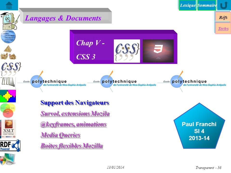 Chap V - CSS 3 Support des Navigateurs Survol, extensions Mozila