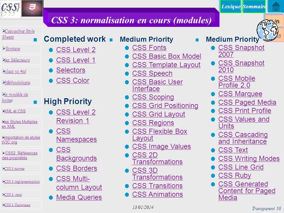 CSS 3: normalisation en cours (modules)