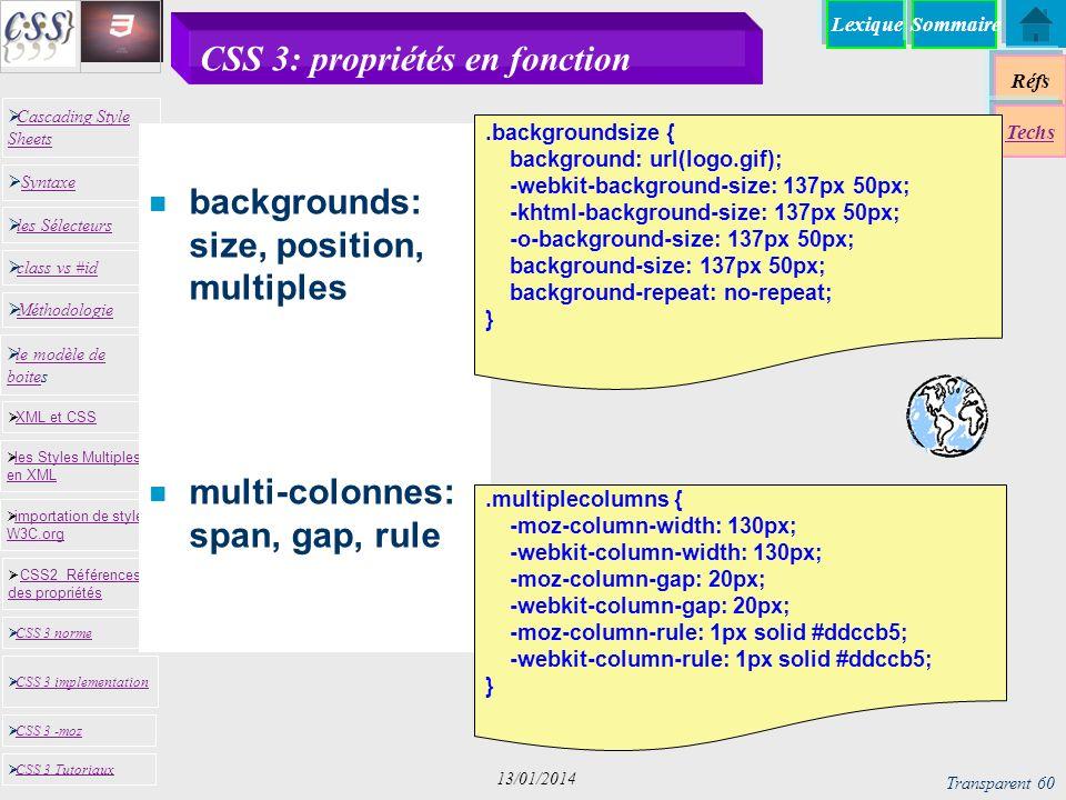 CSS 3: propriétés en fonction