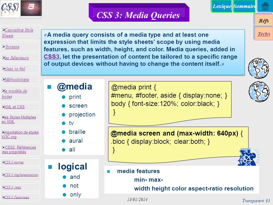 CSS 3: Media Queries @media logical @media print {