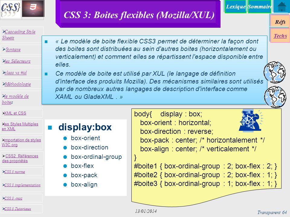 CSS 3: Boites flexibles (Mozilla/XUL)