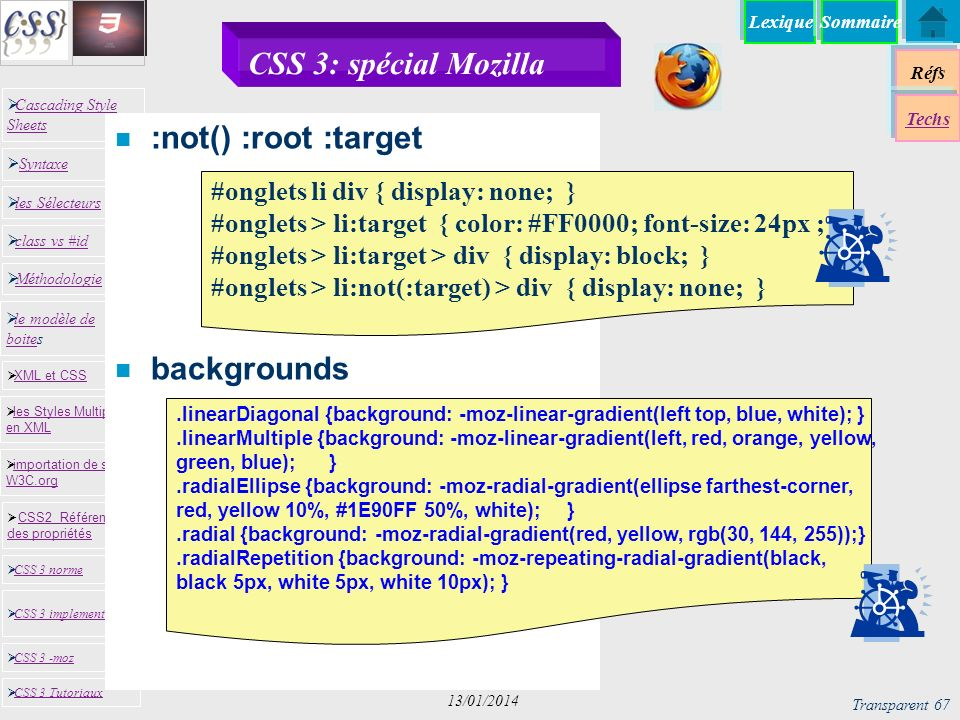 CSS 3: spécial Mozilla :not() :root :target backgrounds