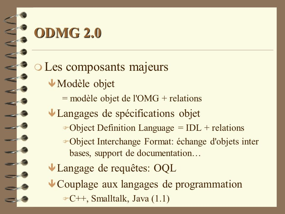 ODMG 2.0 Les composants majeurs Modèle objet