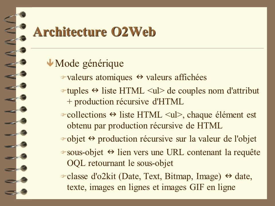 Architecture O2Web Mode générique