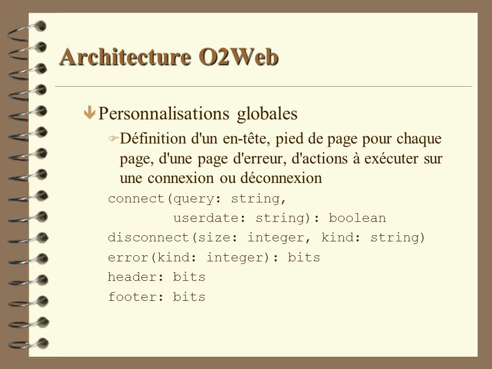 Architecture O2Web Personnalisations globales