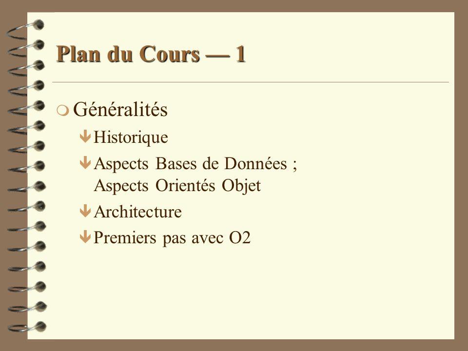 Plan du Cours — 1 Généralités Historique