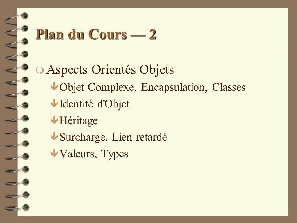 Plan du Cours — 2 Aspects Orientés Objets