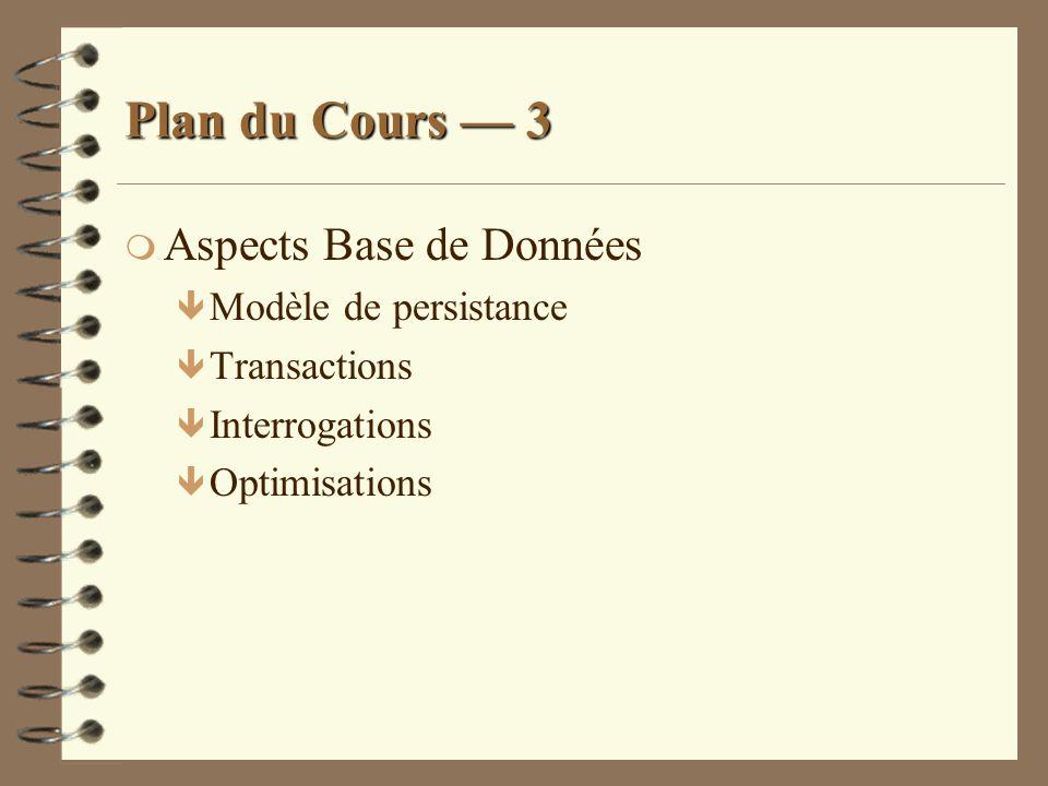 Plan du Cours — 3 Aspects Base de Données Modèle de persistance