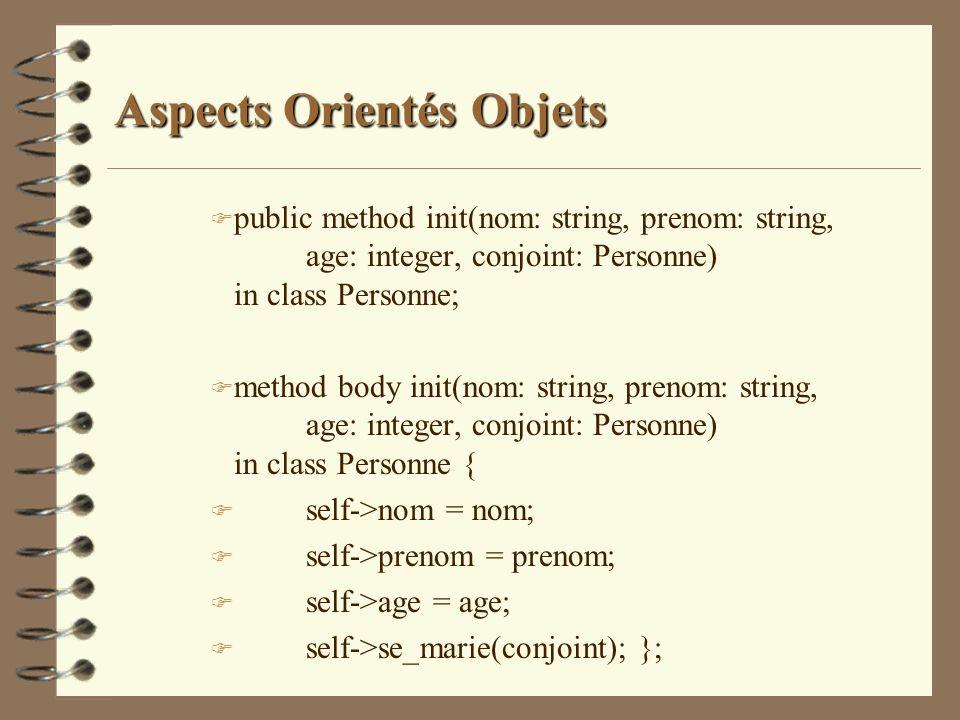 Aspects Orientés Objets