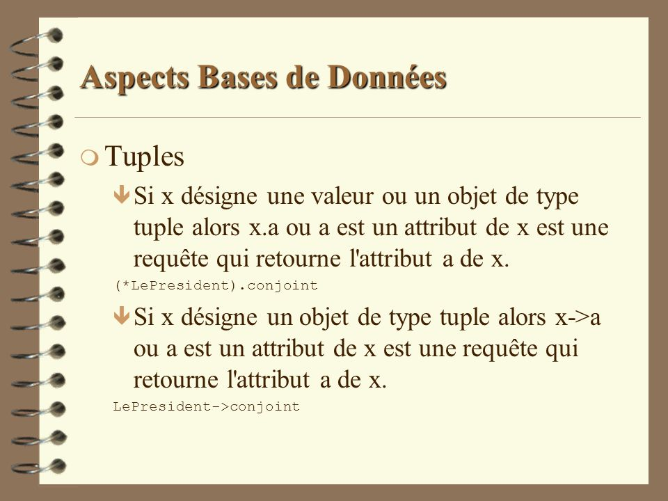 Aspects Bases de Données