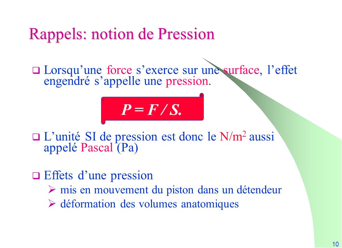 Rappels: notion de Pression
