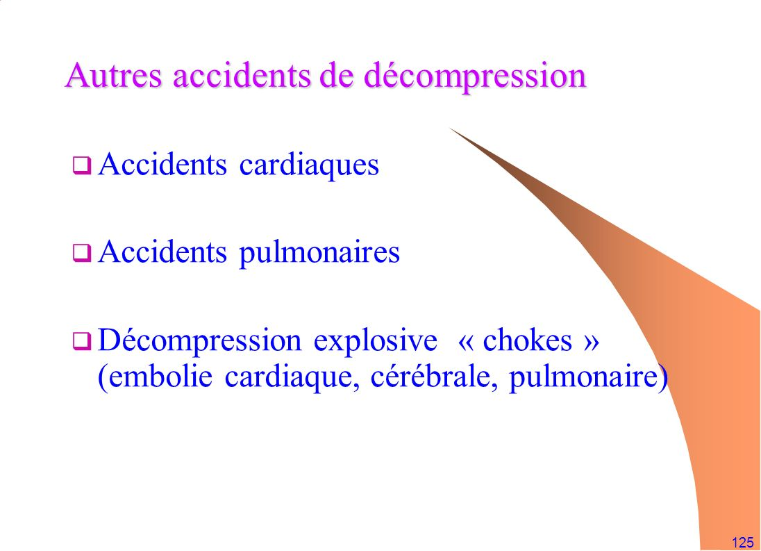 Autres accidents de décompression