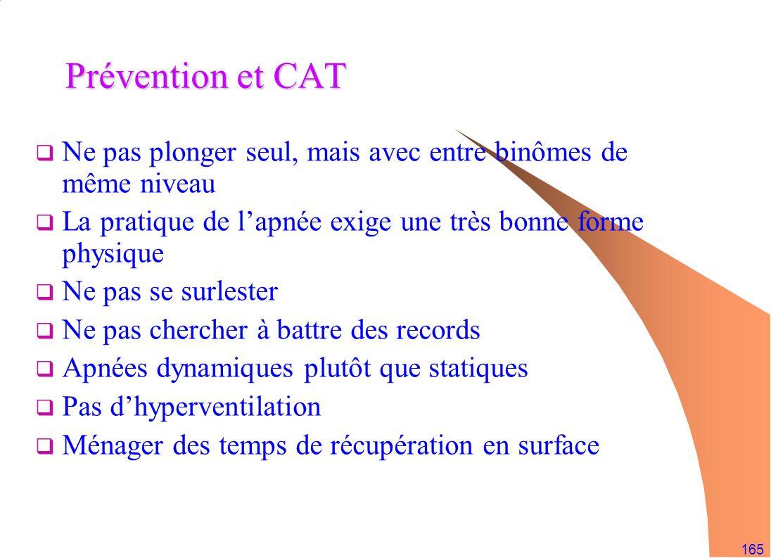 Prévention et CAT Ne pas plonger seul, mais avec entre binômes de même niveau. La pratique de l'apnée exige une très bonne forme physique.