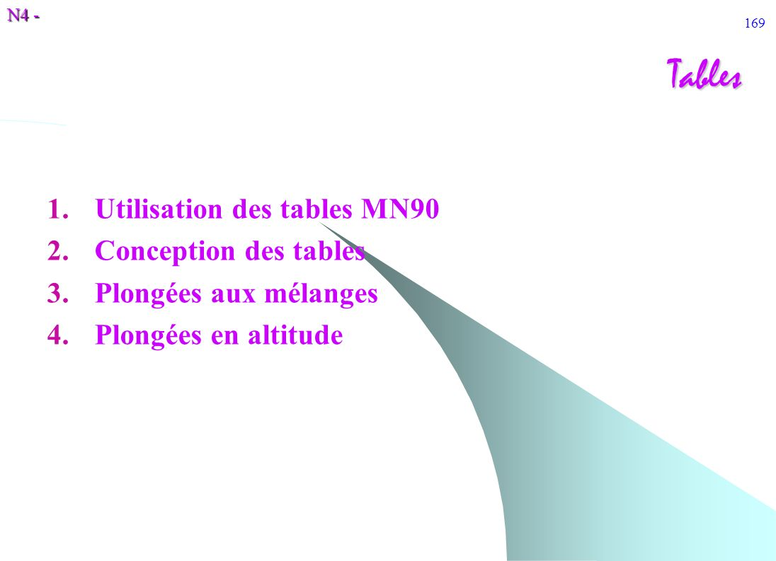 Tables Utilisation des tables MN90 Conception des tables