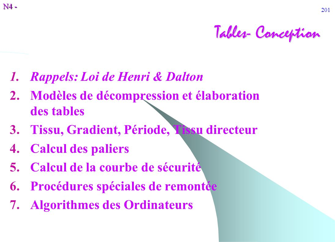 Tables- Conception Rappels: Loi de Henri & Dalton