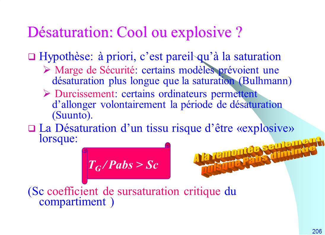 Désaturation: Cool ou explosive