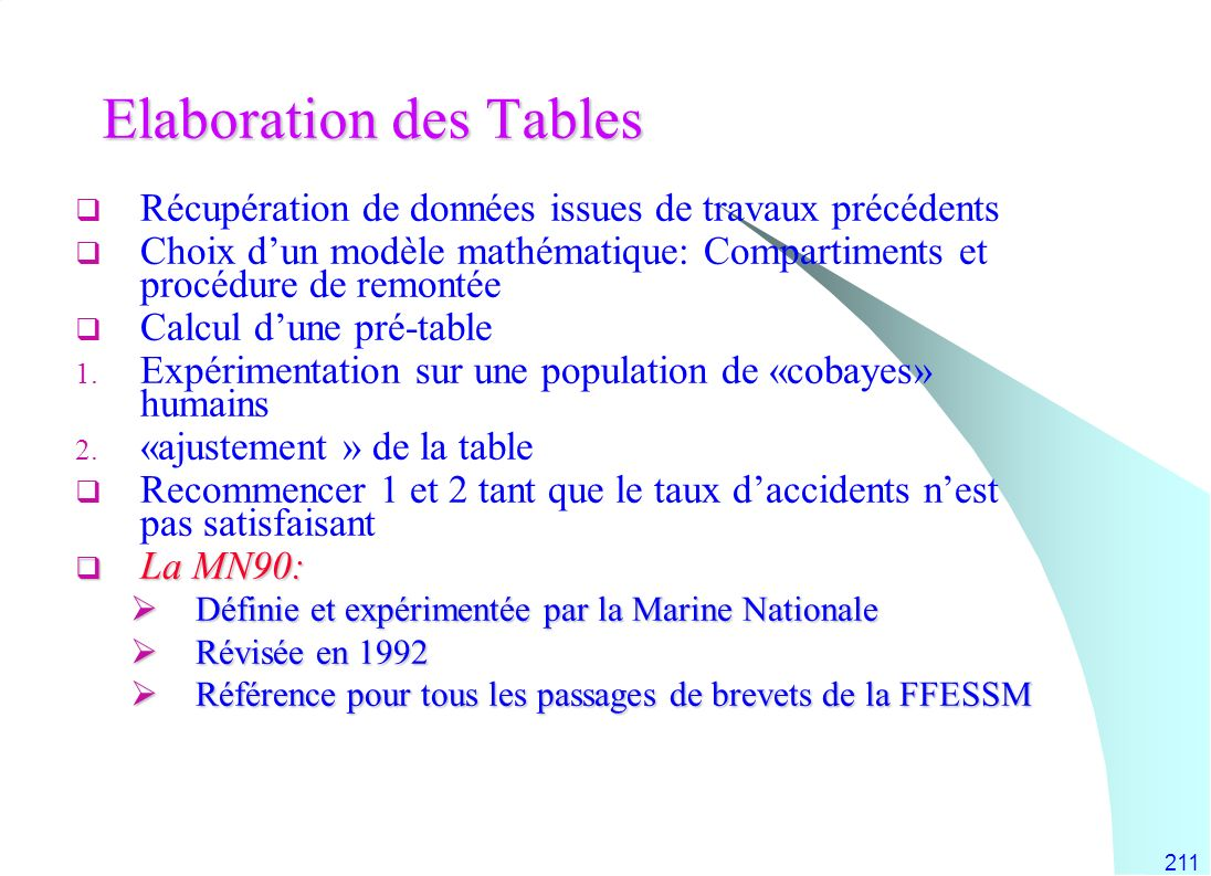 Elaboration des Tables