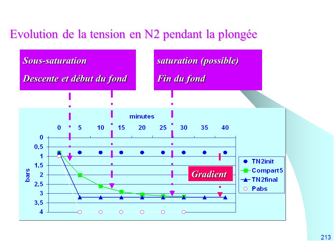 Evolution de la tension en N2 pendant la plongée