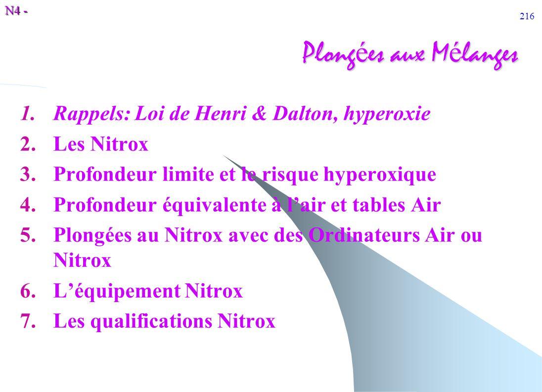 Plongées aux Mélanges Rappels: Loi de Henri & Dalton, hyperoxie
