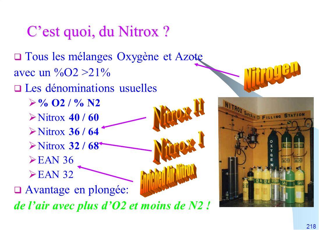 C'est quoi, du Nitrox Nitrogen Nitrox II Nitrox I