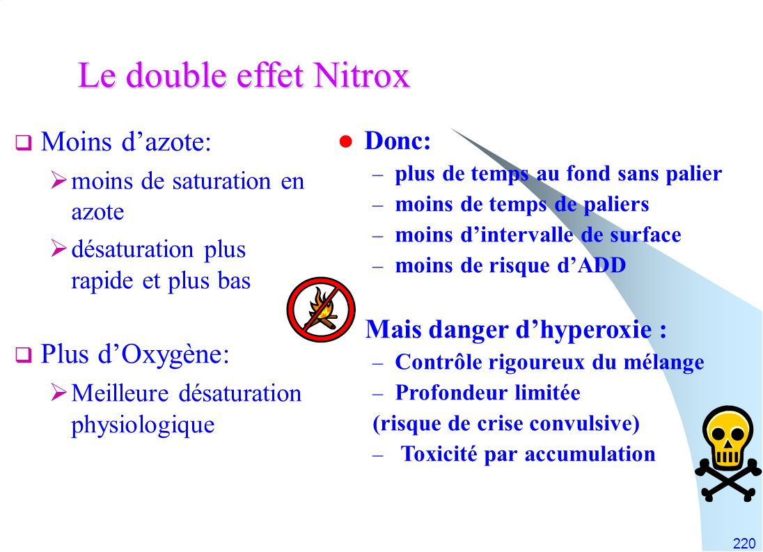Le double effet Nitrox Moins d'azote: Plus d'Oxygène: Donc:
