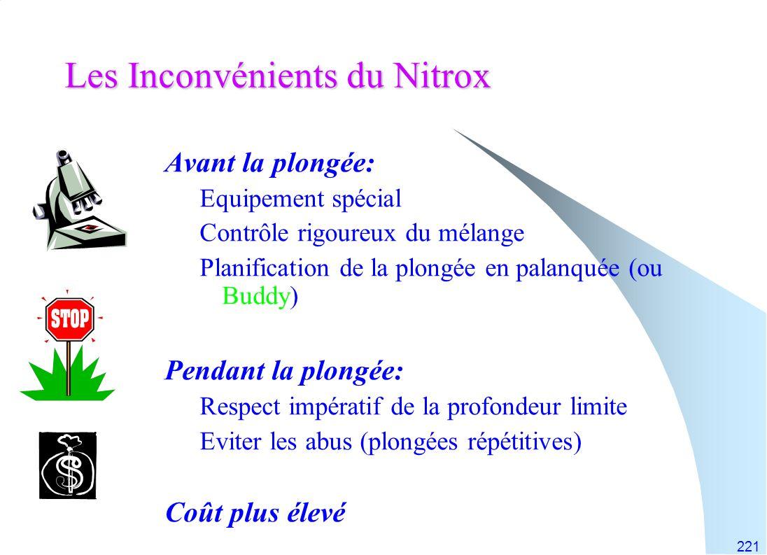 Les Inconvénients du Nitrox
