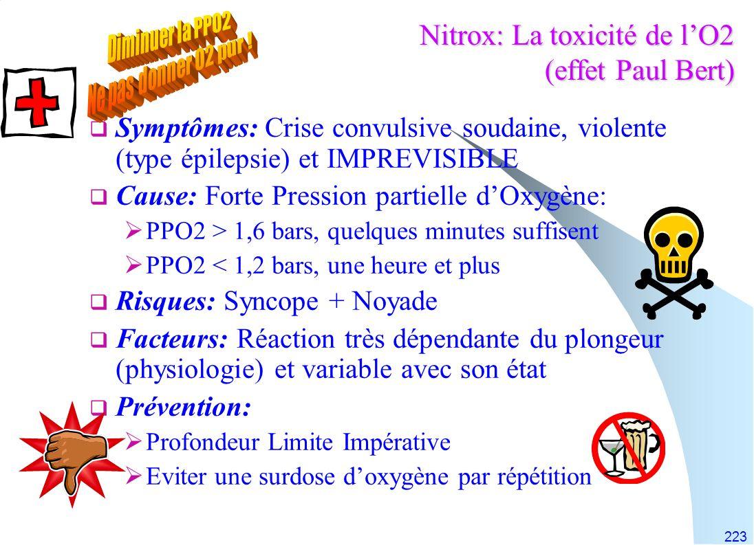 Nitrox: La toxicité de l'O2 (effet Paul Bert)