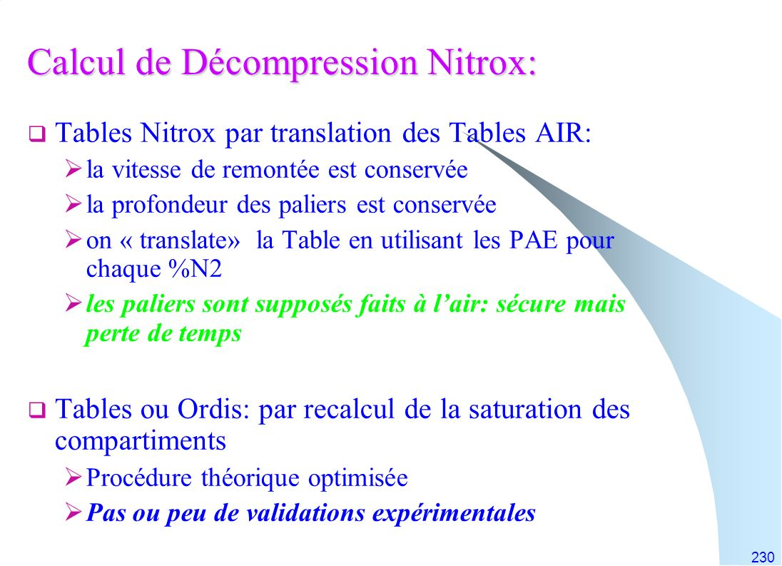 Calcul de Décompression Nitrox: