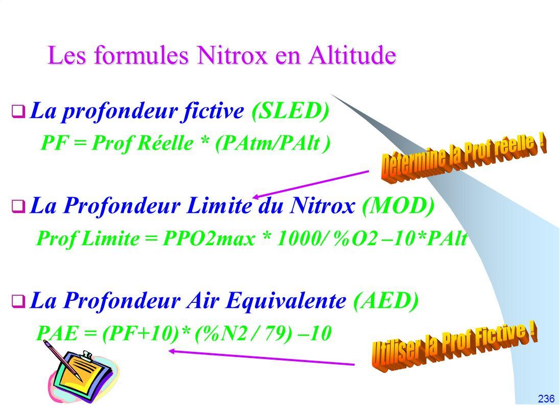 Les formules Nitrox en Altitude