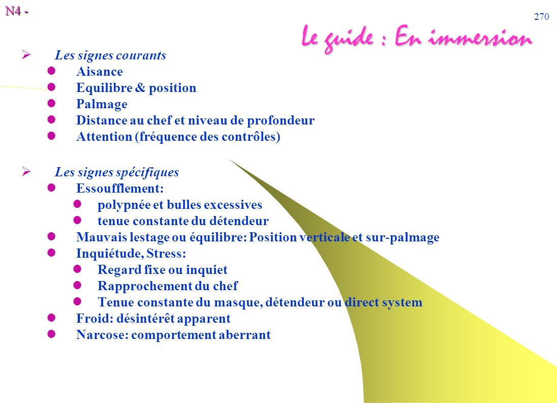 Le guide : En immersion Les signes courants Aisance