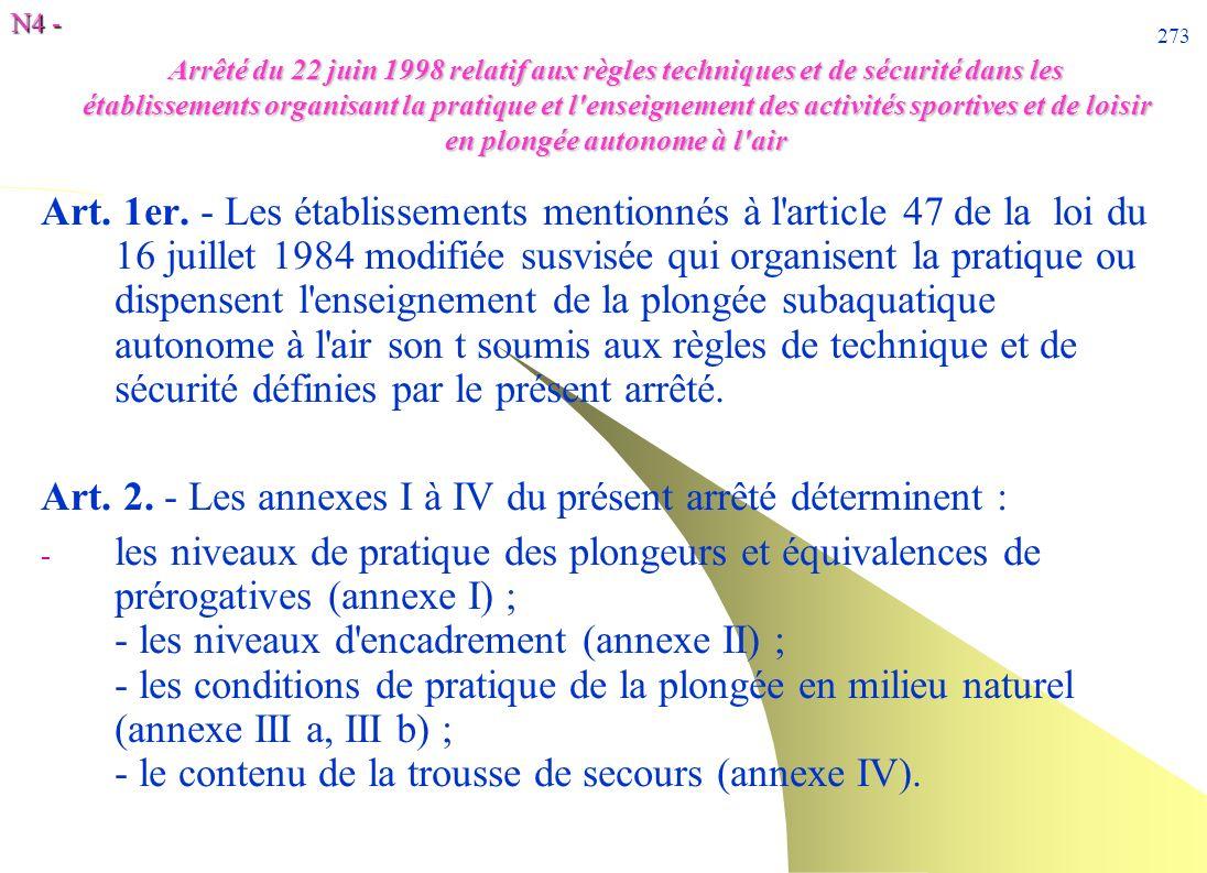 Art. 2. - Les annexes I à IV du présent arrêté déterminent :