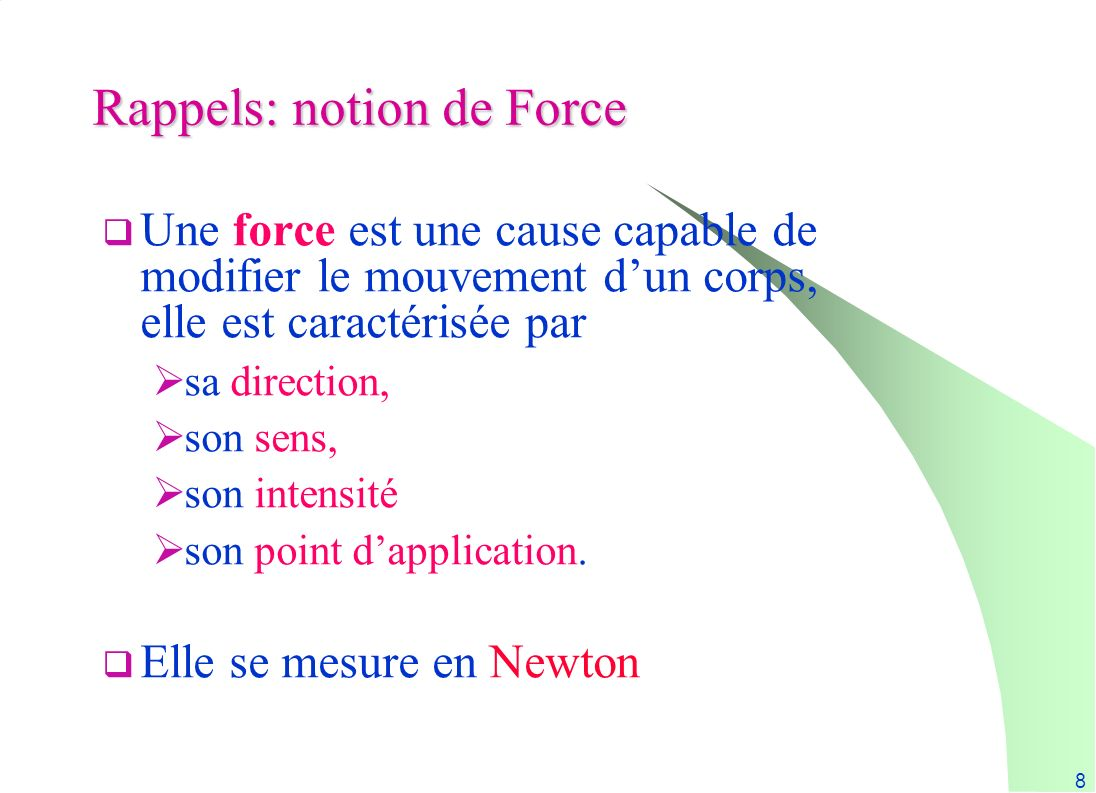 Rappels: notion de Force