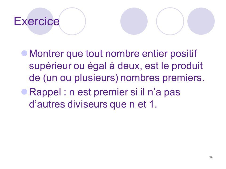 Exercice Montrer que tout nombre entier positif supérieur ou égal à deux, est le produit de (un ou plusieurs) nombres premiers.