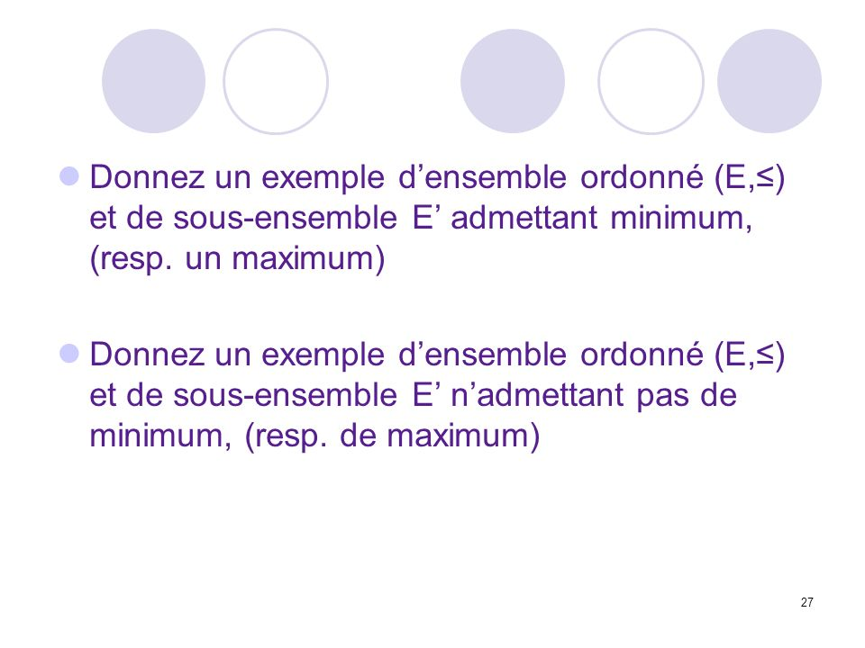 Donnez un exemple d'ensemble ordonné (E,≤) et de sous-ensemble E' admettant minimum, (resp. un maximum)