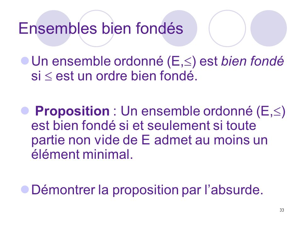 Ensembles bien fondés Un ensemble ordonné (E,) est bien fondé si  est un ordre bien fondé.