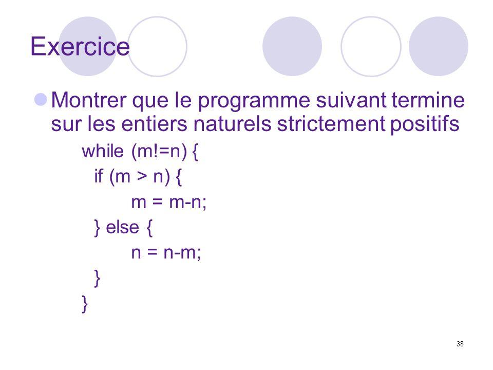Exercice Montrer que le programme suivant termine sur les entiers naturels strictement positifs. while (m!=n) {