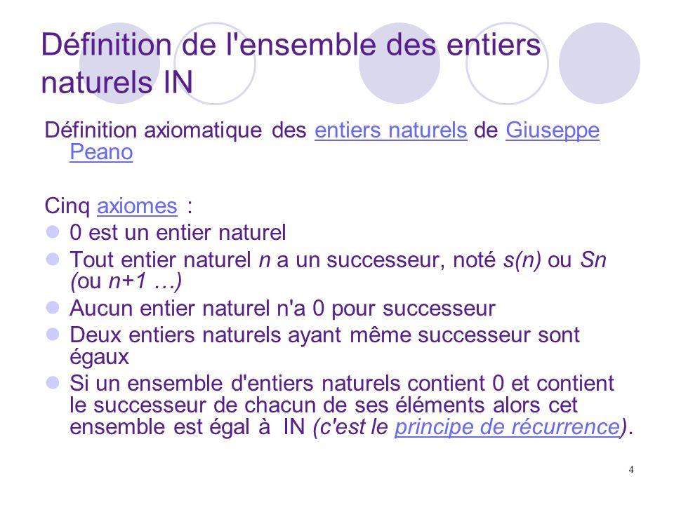 Définition de l ensemble des entiers naturels IN