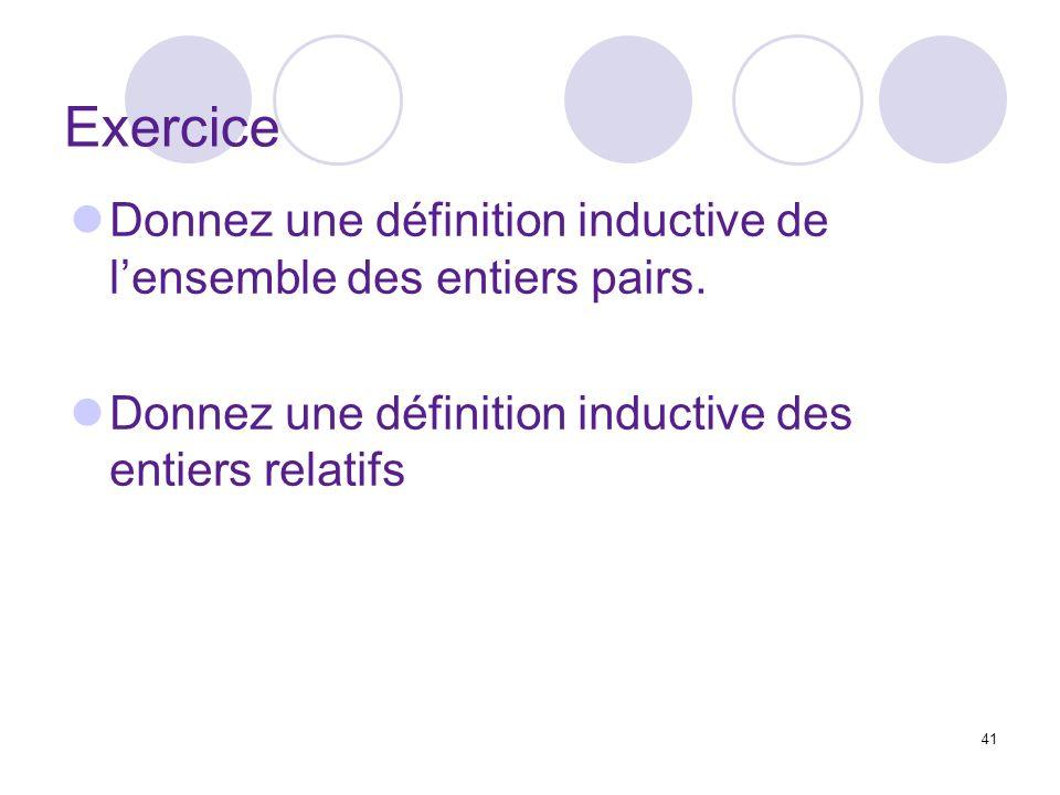 Exercice Donnez une définition inductive de l'ensemble des entiers pairs.
